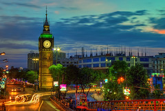 Bigben @ Calcutta (Anirban.243) Tags: clock tower bigben calcutta kolkata india sky blue hour light trail traffic road footbridge cityscape canon hdr cs5