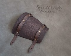 Mercenary's equipment - Leather Bracer (SvetliySudarWorkshop) Tags: brown leather design costume craft custom aging larp mercenary svetliysudarworkshop