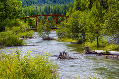 Cle Elum River and Tumble Creek Bridge (Don Thoreby) Tags: forest canyon cascades washingtonstate slopes cascademountains cascaderange aspentrees ponderosapine cleelumriver suncadiaresort cleelumrivervalley tumblecreekbridge
