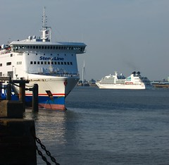 Seabourn Quest Begins Her Quest (frisiabonn) Tags: stena lagan mersey passenger ship water liverpool wirral woodside birkenhead united kingdom great britain england beautiful big large seabourn quest princess parade vehicle boat outdoor maritime