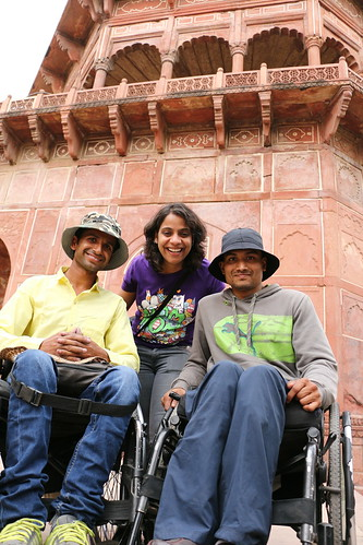 Accessible tour of Taj Mahal:Our Founder, Neha Arora seen here with two travellers who were wheelchair users.