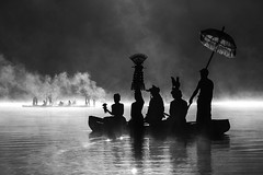 Ceremony on the lake (Wolf Lady8) Tags: fog lake tamblingan mystic ceremony
