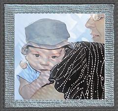 Granny's Shoulder (timeinabox) Tags: infant baby grandson hat shoulder granny knittedframe timeinabox