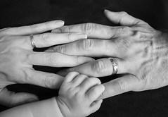 The three of us (explored) (kellyhackney1) Tags: precious preciousmoments cherish cherub piccy love thethreeofus three mama papa baba baby bbylove family cute blackandwhite hands holdinghands
