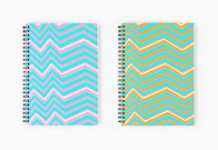 Sparks spiral notebooks (The Wallpaper Files) Tags: design notebooks spiral zigzag sparks pink green blue orange