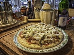 Tonight I shot my dinner... (ParadoX_Design) Tags: wood red food cooking kitchen dinner table italian wine eating whiskey diner eat oil chianti whisky onion tabletop dinnertime piza cusine oik