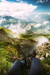 On the edge... (NIOphoto.) Tags: sky cloud mountain alps feet clouds landscape schweiz switzerland nikon scenery sitting legs tokina ridge edge alpen niesen d5200