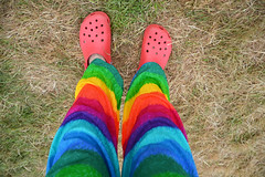 191 366 festival trousers (Margaret Stranks) Tags: 191366 365days 2016 festival trousers rainbow crocs cornburyfestival originalcornburyfestival greattew oxfordshire uk colourful