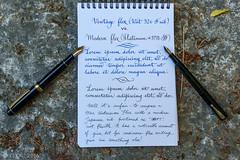 Waterman 52V vs. Platinum #3776 SF (kitchener.lord) Tags: ink pens stationery nib platinum waterman 2016 serenityblue xf27 rhodiadottedbloc platinumblackink