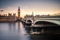 Westminster Bridge (Jarkko T) Tags: longexposure travel bridge sunset summer london water westminster thames river bigben hss