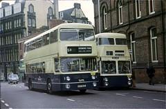 WMPTE 4264 & 19L, Wulfruna Street, Wolverhampton, 1973 (Lady Wulfrun) Tags: wmpte fleetline 4264 eof264l walsall 19l adh119b 31st may 1973 59 ashmorepark daimler 19 68