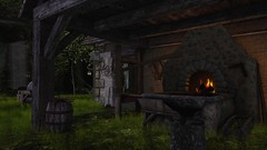 The Forge (alexandriabrangwin) Tags: world old chimney black grass stone computer dark fire 3d graphics iron village steel barrel medieval tools secondlife virtual age armor weapon lanterns forge soot cgi anvil stoked timey sharpening alexandriabrangwin