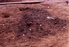 Spong Hill 1979 - my feature before (robmcrorie) Tags: cambridge archaeology cemetery urn hill norfolk pit hills catherine burial dig feature cremation excavation spong anglosaxin