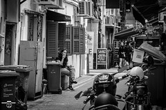 Taking a break (starlightz82) Tags: singapore hajilane beachroad ally backally stree street streetphotography blackandwhite black white break rest smoking