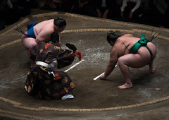 Two sumo wrestlers fighting at the ryogoku kokugikan arena, Kanto region, Tokyo, Japan (Eric Lafforgue) Tags: people male men sport japan horizontal asian japanese tokyo big fight referee asia fighter power martial wrestling fat traditional champion culture traditions lifestyle competition clash ring east indoors tournament ritual leisure sumo inside strength fullframe athlete adults wrestlers adultsonly cultural obese overweight ryogoku 3people competitors kantoregion threepeople colourpicture 2029years japan161082