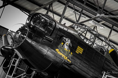 The Lancaster Bomber (Sue_Shaw) Tags: blackandwhite monochrome plane canon airplane aircraft aviation transport aeroplane lincolnshire lancaster canoneos colorsplash coloursplash raf thumper coningsby thelancasterbomber canon80d