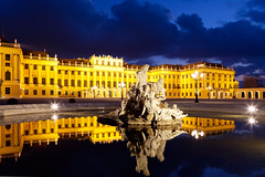 chteau de Schnbrunn (Voyages Lambert) Tags: reflection water statue horizontal architecture night outdoors austria pond nopeople palace royalty electriclight viennaaustria traveldestinations famousplace schonbrunnpalace internationallandmark architectureandbuildings baroquestyle builtstructure travellocations hapsburgdynasty