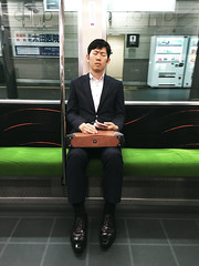 () Tags: life city travel portrait people japan train outdoors kyoto day sleep fulllength    osaka iphone