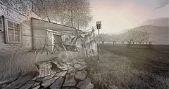 A home (alidamor.anatra) Tags: sl secondlife landscape home house farm trees wire way memories old vintage digital nature living countrylife silence