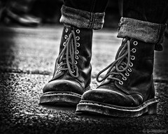 Classics (whistlingtent) Tags: dr martens boots classic footwear laces turn ups airwair soles pavement ground tarmac jeans worn