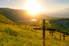 Rhigos sunset and memorial crosses (technodean2000) Tags: along side rhigos rd rhondda cynon taff valleys south wales old mining towns mountain landscape outdoor mountainside