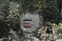bad hair day (Pejasar) Tags: art tulsazoo tulsa oklahoma sculpture rainforest exhibit foliage trees plants green face eyes lips greenhair