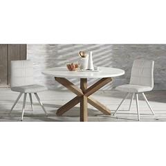 khyos-rotondo-diametro-120-tavolo-rotondo-basamento-massello-di-rovere-piano-laccato-bianco-opaco (design italiano) Tags: tavoli casa arredamento arredare sala soggiorno cucina