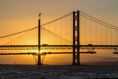 Old and New - Forth Bridges (dalejckelly) Tags: canon scotland forth rail bridge railway sunset clouds sea seaside water beautiful beach bridges landscape summer