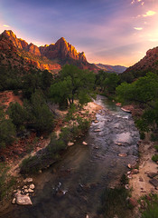 Clear Visions (sharpedit) Tags: clear visions watchman zion national park utah landscape virgin river trees sunset wide angle tokina 1116