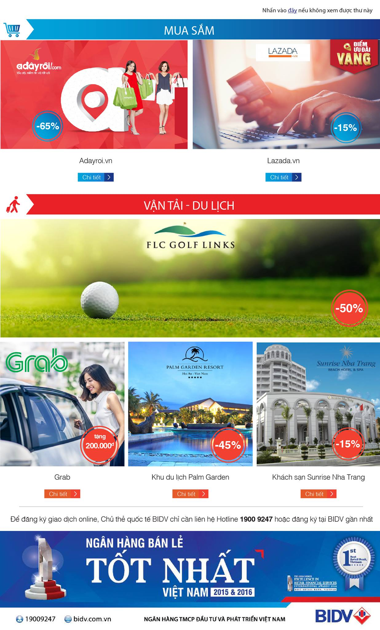 BIDV: Giảm tới 65% khi mua sắm, thanh toán thẻ BIDV tại Adayroi, Lazada.vn, Grab...