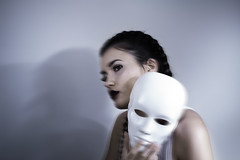 Catfish (freen ) Tags: portrait self girl mask white blue shadow darkness dark photography conceptual