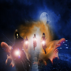 The Four Horsemen of the Apocalypse (snapshot1308) Tags: motorcycles apocalypse red moon moonlight clouds stormclouds city lights headlights fantasy mythology revelations horsemen hands dark composite