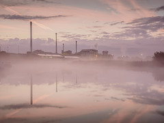 Misty river Yare (fulham phil) Tags: longexposure sugarbeetfactory boats cantleyriver yaresunrise mist norfolk reflections