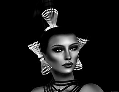 Caracol (Eurdice Qork) Tags: model fashion sexy bw glam glamour glamorous blackandwhite portrait secondlife sl chopzuey jewerly fashionist face