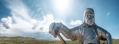 In the land of the Great Khaan (Piyush Bedi) Tags: mongolia asia chinggis khaan khan ghengis statue aluminium steel panorama panoramic steppe yurt hdr fuji fujifilm xt1 outdoors clouds outdoor