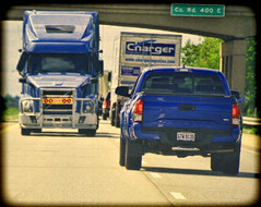 Collision Course (creepingvinesimages - mostly off while I relocate ) Tags: htt truck blue colors highway towing ohio interstate outdoors nikon d7000 pse14 topaz