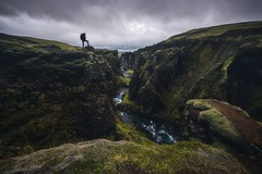 On the Edge (Marco Battini) Tags: iceland canyon cliffs fjarrgljfur river clouds