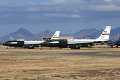 "55-3132 NKC-135E ""Big Crow I"" & 63-8050 NKC-135B ""Big Crow II"" - Aerospace Maintenance and Regeneration Group (AMARG) - Davis-Monthan AFB, AZ (David Skeggs) Tags: aircraft aeroplane boeing usaf usairforce amarg amarc masdc davidskeggs c135 kc135 nkc135 stratotanker bigcrow flighttest abl airbornelaser davismonthanafb"