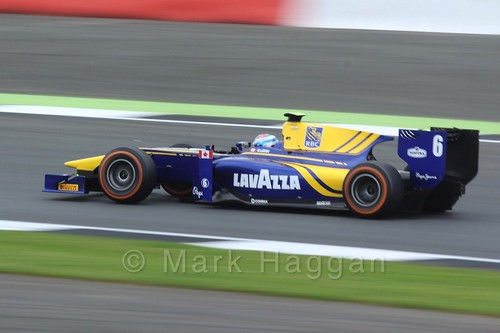 Nicholas Latifi in the DAMS car in the GP2 Feature race at the 2016 British Grand Prix