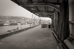 Rope store... (AJFpicturestore) Tags: cornwall newlyn rope fishing boats harbour cornishharbours monochrome blackwhite alanfoster fuji xpro1