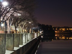 Quiet night by the lakeside (miiick) Tags: night lake lights serenity calm concrete reflection trees water cold canberra