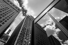 Cloud City (Andy Marfia) Tags: chicago clarkst federalcenterplaza postoffice searstower window reflection buildings architecture clouds sky bw blackwhite monochrome d7100 1685mm f8 1250sec iso100