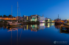 Pegasus and the D Hotel Drogheda (mythicalireland) Tags: dhotel drogheda boyne river reflection sky bluehour twilight lights boat ship ketch scotchhall valley louth ireland landscape waterfront water outdoor skyline dusk architecture city