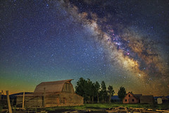 Moulton Barn Milky Way Stack (skypointer2000) Tags: stacking fitswork moultonbarn grandtetonnationalpark nightscape astrophotography astronomy astro milchstrasse canon canoneos6d astromodified hutech samyang samyang24mmf14 longexposure landscape sky night wyoming skyglow ~themagicofcolours~viii
