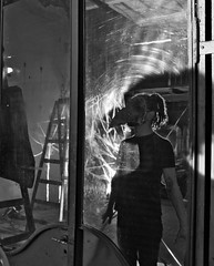 () Tags: black white mask mascara spiderwebs stairs mirror reflection door portrait retrato