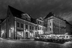 Tallinn Nights (McQuaide Photography) Tags: tallinn estonia europe northerneurope sony a7rii ilce7rm2 alpha mirrorless 1635mm sonyzeiss zeiss variotessar fullframe mcquaidephotography adobe photoshop lightroom tripod manfrotto light night nightphotography outdoor outside building city longexposure capitalcity street illuminated wideangle old oldstreet oldtown cobbled cobbles pedestrian atmosphere charm lowlight streetlight pavement sidewalk architecture timeless cobblestone medieval historic history unesco worldheritagesite house terrace raekojaplats townhallsquare restaurant square blackandwhite bw blackwhite mono monochrome corner