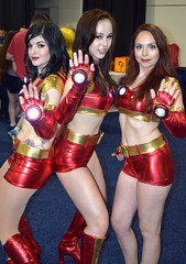 Ironette Dancers cosplay at Boston Comic Con 2016 (FranMoff) Tags: costume costumer bostoncomiccon flickr cosplay ironman dancer cosplayer 2016 ironette bostoncomiccon2016 hotpants red satin women
