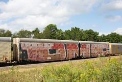 DMC (quiet-silence) Tags: graffiti graff freight fr8 train railroad railcar art dmc wholecar articulated autorack automax roller bnsf bnsf314017