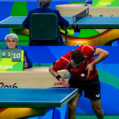 Upon close inspection, Hans realised he dislocated his shoulder (MastaBaba) Tags: 20160821 brazil brasil rio riodejaneiro olympics olympicgames summerolympics sports germany tabletennis play playing