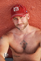 Keith (Levi Smith Photography) Tags: baseball cap red beard tattoo hairy muscle biceps shoulders pecs hat chest shirtless smile handsome hot men mens fashion sexy blue eyes